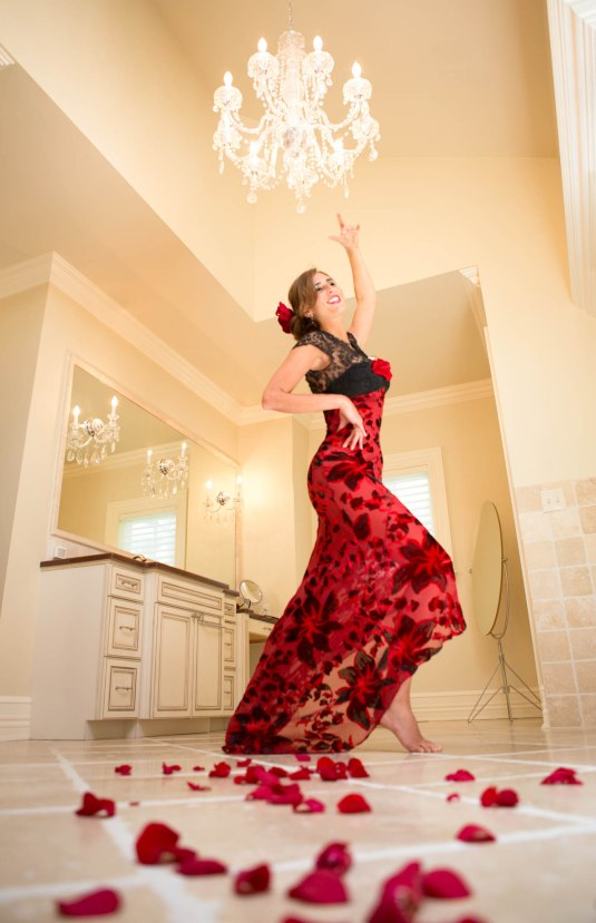 Red Dress and Roses by Sharon Birke www.PowerfulGoddess.com