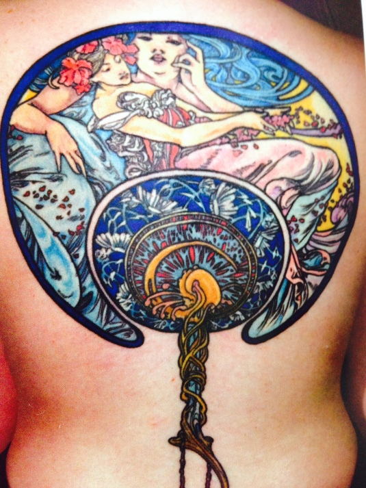 Alphonse Mucha tattoo reproduction by Thea Duskin
